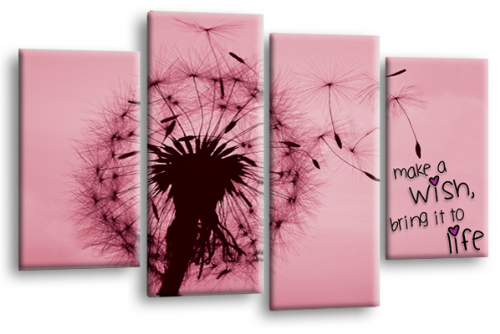 Make a Wish Canvas Wall Art Picture Print Quote Pink Grey